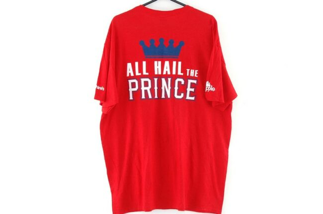 Back of Texas Rangers All Hail the Prince Red Tee
