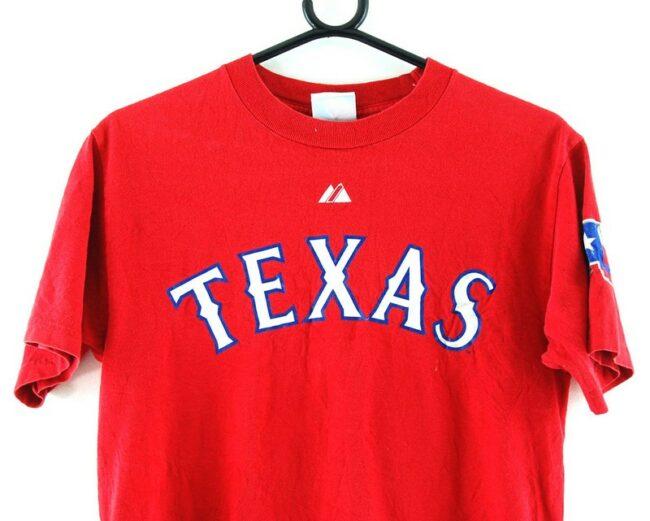 Close up of Texas Rangers Baseball Cruz 17 Red Tee