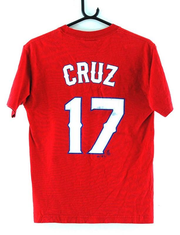 Back of Texas Rangers Baseball Cruz 17 Red Tee