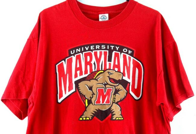Close up of University of Maryland Red Tee