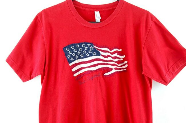 Close up of American Apparel Red Flag Tee