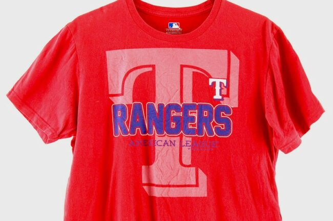 Close up of Rangers American League Red Tee