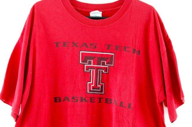 Close up of Texas Tech Basketball Tee