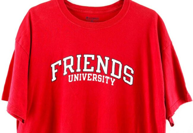 Close up of Friends University Red Tee
