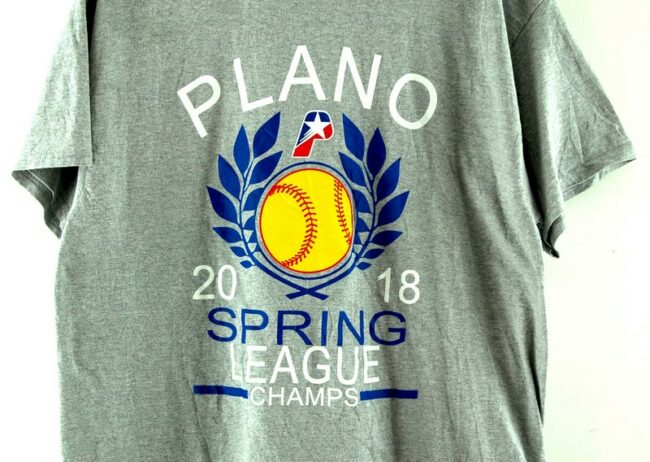 Close up of Plano Spring League Champs 2018 Grey Tee
