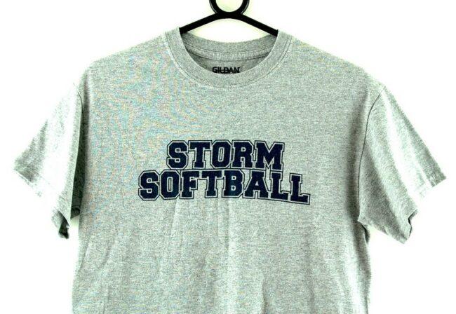 Close up of Storm Softball Grey Tee