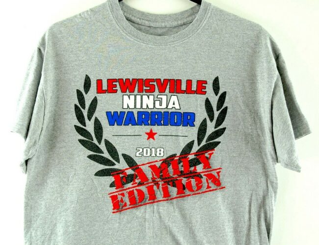 Close up of Lewisville Ninja Warrior Grey Tee