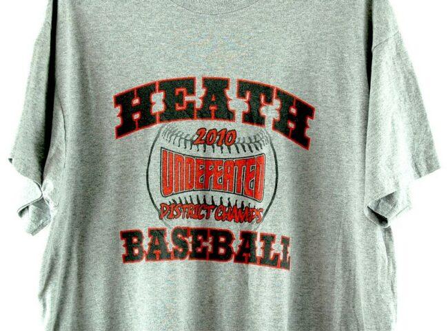 Close up of Heath Baseball 2010 Grey Tee