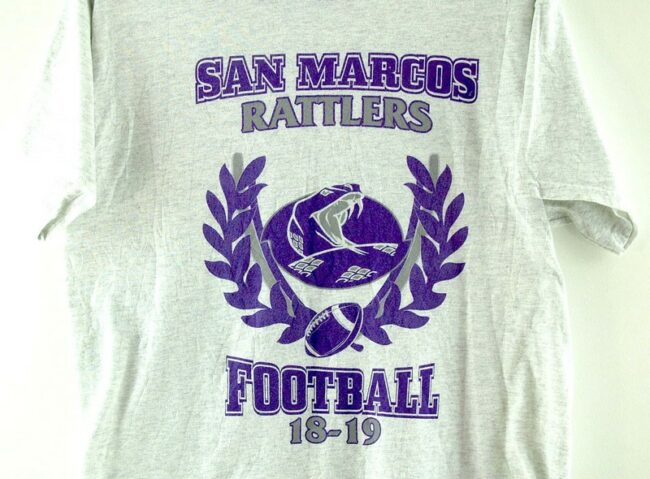Close up of San Marcos Rattlers Football Grey Tee