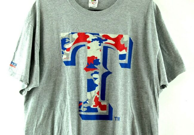 Close up of Texas Rangers Camo Grey Tee