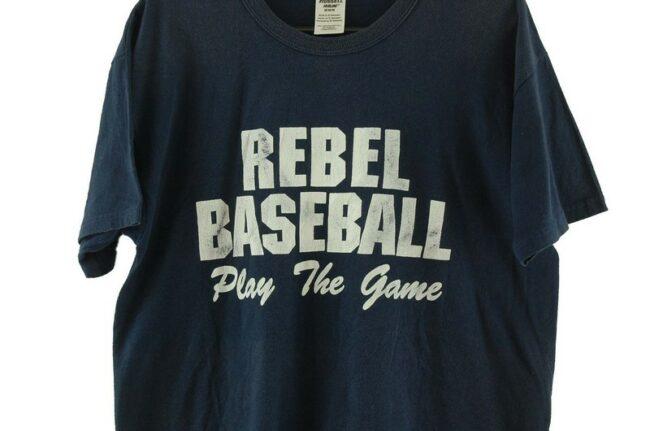 Close up of Rebel Baseball Navy Tee