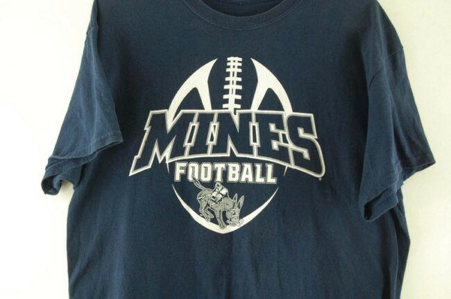 Close up of Mines Football Navy Tee