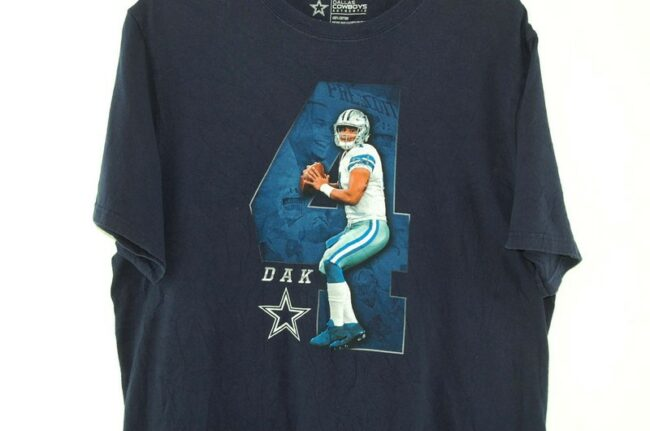 Close up of Dallas Cowboys Dak Prescott Navy Tee