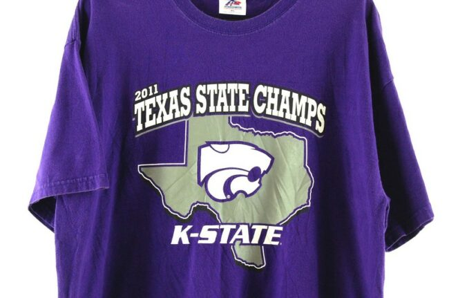 Close up of Texas State Champs Purple Tee