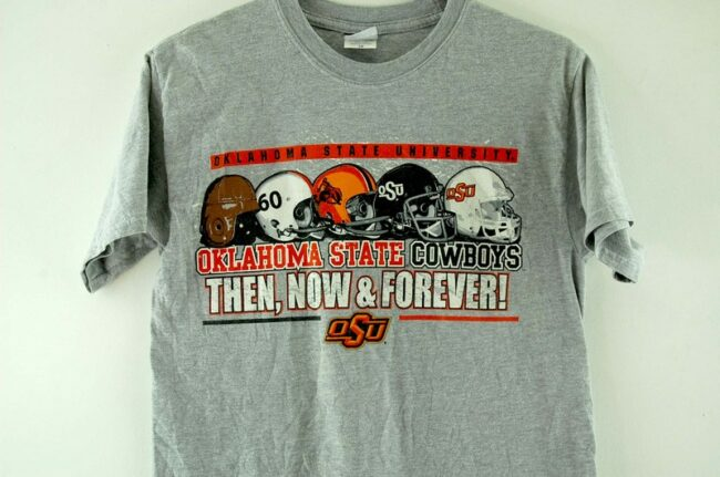 Close up of Oklahoma State Cowboys Grey T-Shirt