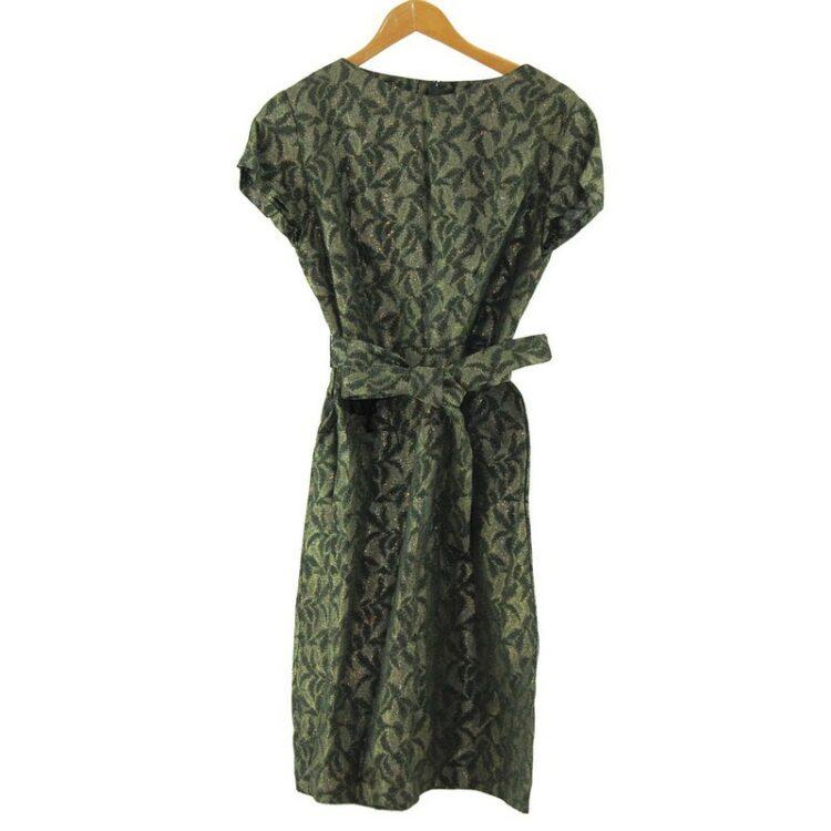 1960s Tie Waist Brocade Dress