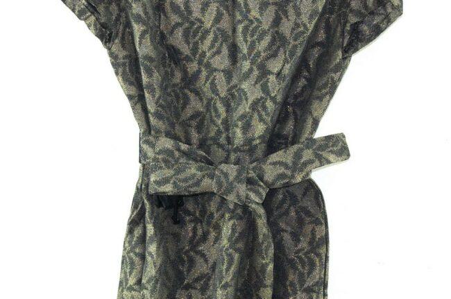 Close up of 1960s Tie Waist Brocade Dress