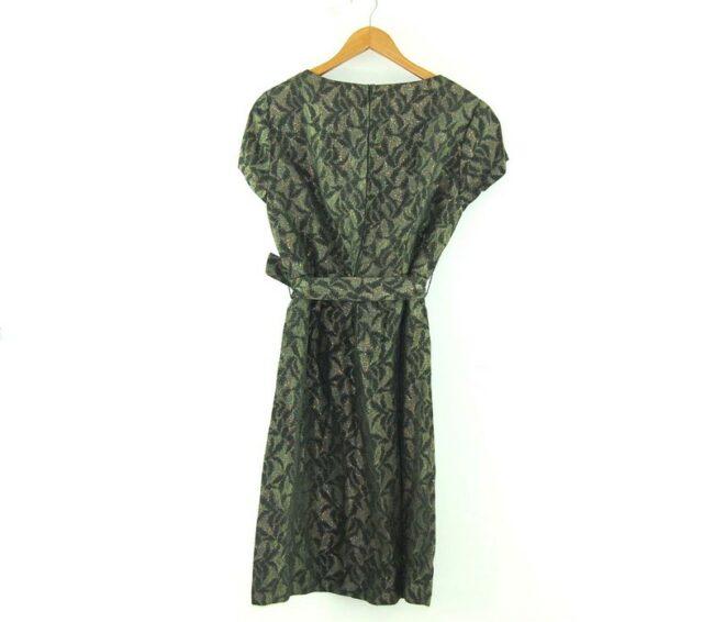 Back of 1960s Tie Waist Brocade Dress