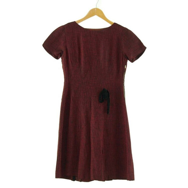 Burgundy 1960s Pleated Dress with Bow