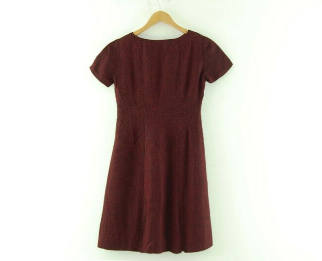 Back of Burgundy 1960s Pleated Dress with Bow
