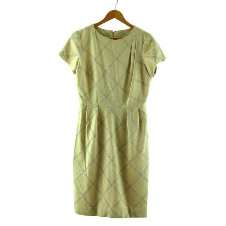 1960s Metallic Check Wool Dress