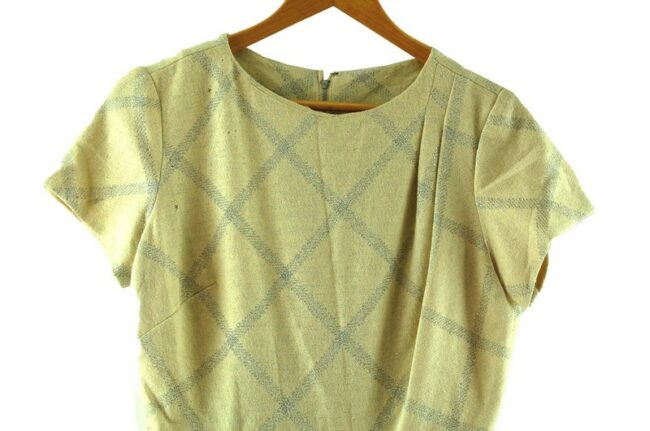 Close up of 1960s Metallic Check Wool Dress
