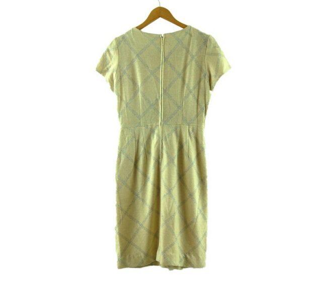 Back of 1960s Metallic Check Wool Dress