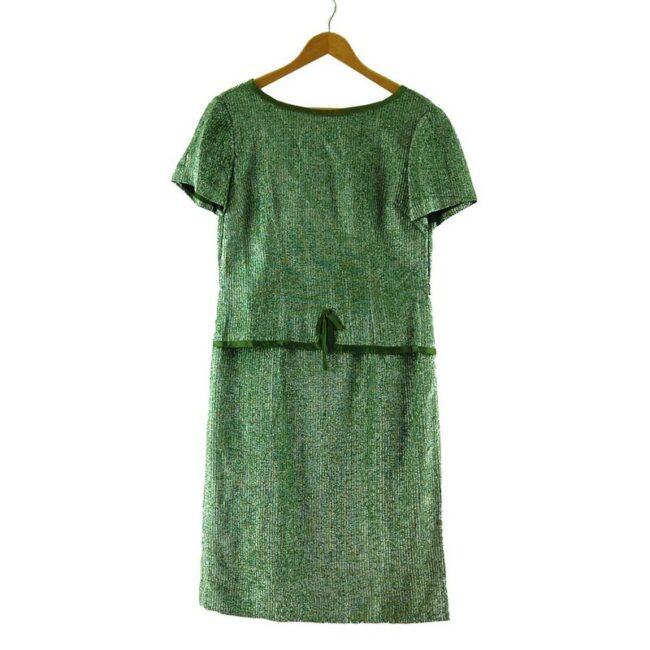 1960s Metallic Green Shift Dress