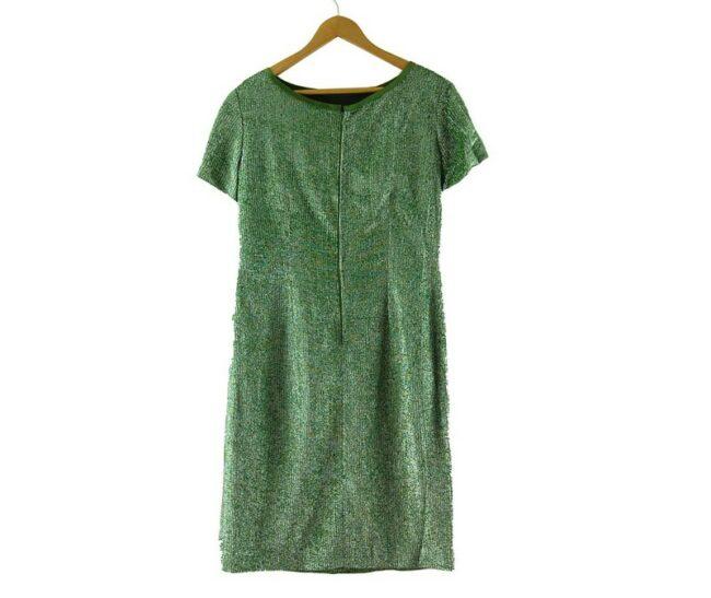 Back of 1960s Metallic Green Shift Dress