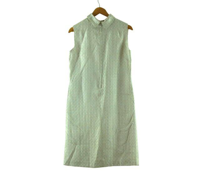 Back of White Metallic Brocade 1960s Dress