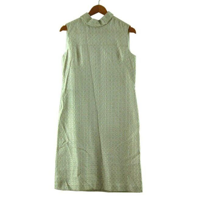 White Metallic Brocade 1960s Dress