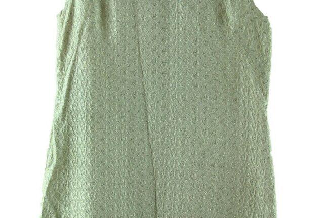 Close up of White Metallic Brocade 1960s Dress