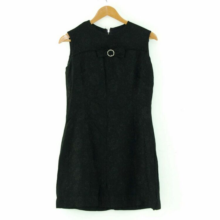 1960s Black Shift Dress with Bow