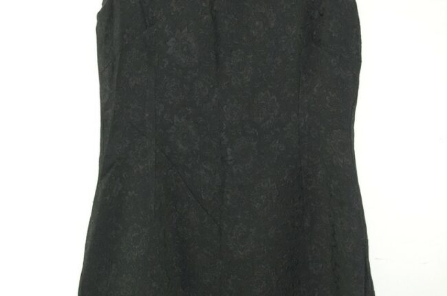 Close up of 1960s Black Shift Dress with Bow