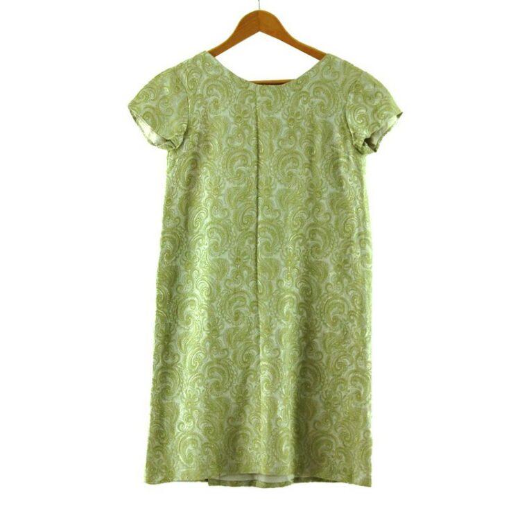 1960s Green and Silver Metallic Shift Dress