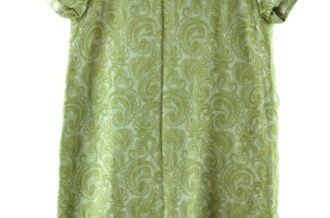 Close up of 1960s Green and Silver Metallic Shift Dress