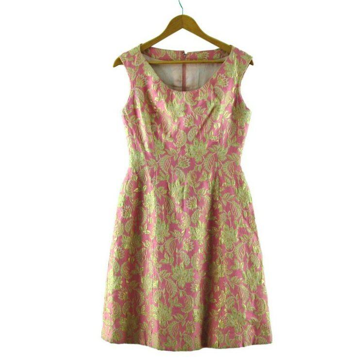 1960s Pink and Gold Metallic Jacquard Dress