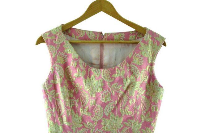 Close up of 1960s Pink and Gold Metallic Jacquard Dress