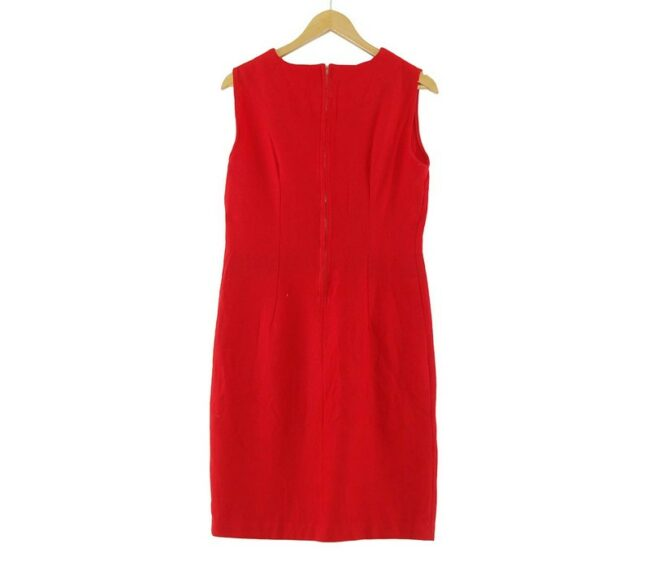 Back of 1960s Red Wool Shift Dress