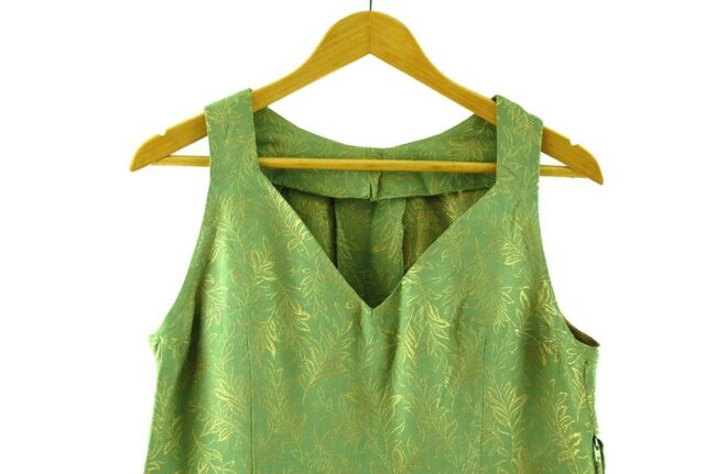 Close up of 1960s Green and Gold Dress