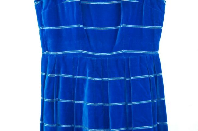 Close up of 1960s Ursula Roleff Blue Velvet Dress