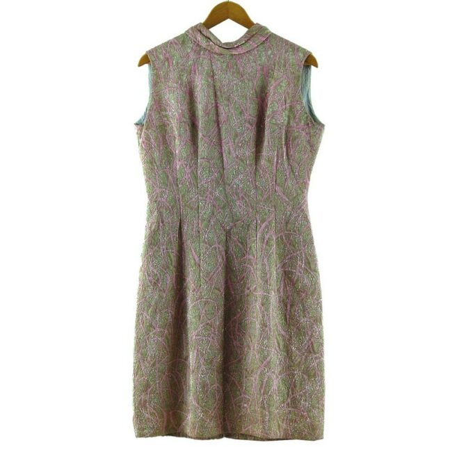 1960s Metallic Pink Jacquard Dress