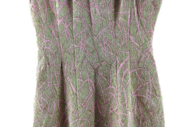 Close up of 1960s Metallic Pink Jacquard Dress