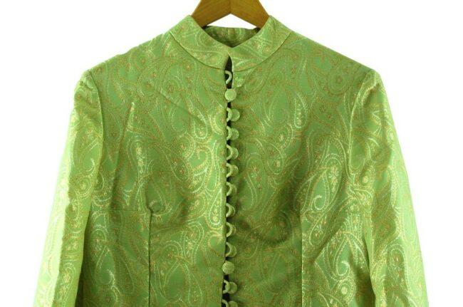 CloClose up of 1960s Metallic Green Raj Dress se up of of 1960s Metallic Green Button Through Dress