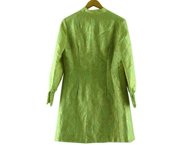 Back of 1960s Metallic Green Raj Dress