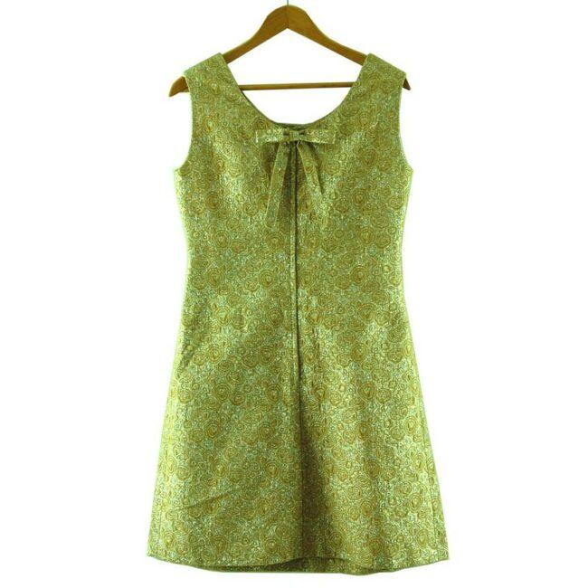 Back of 1960s Metallic Gold Shift Dress
