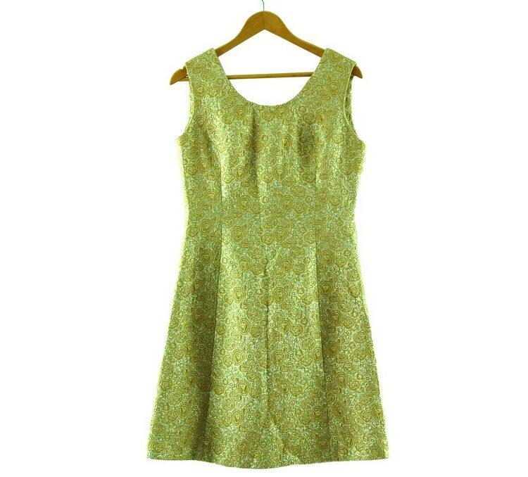 1960s Metallic Gold Shift Dress