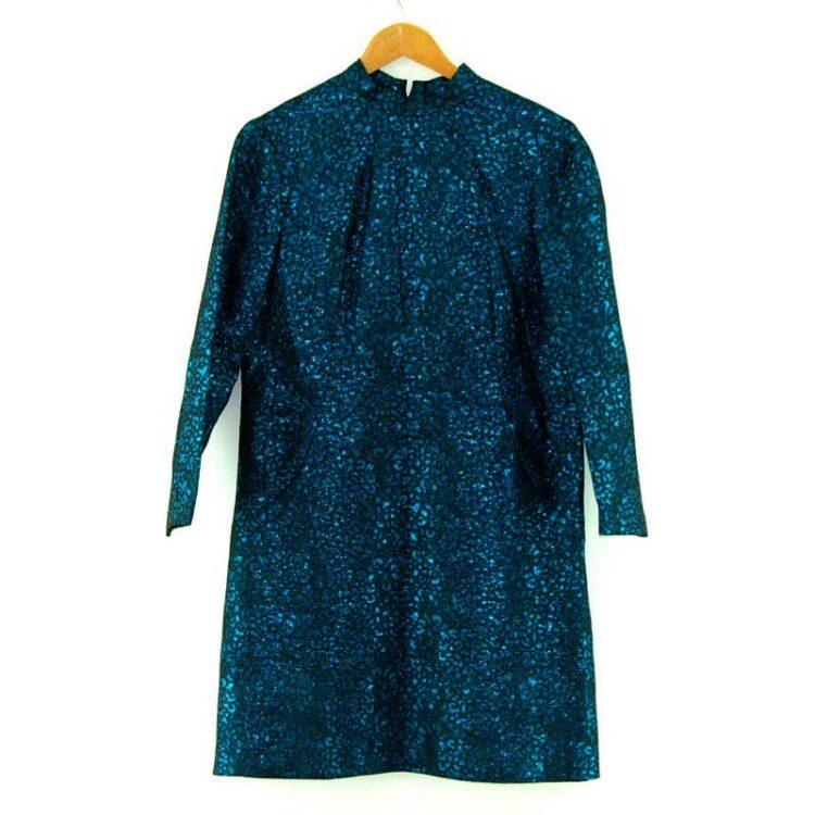 1960s Metallic Blue Shift Dress
