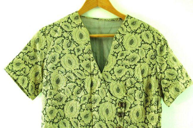 Close up of 1960s Metallic Wrap Over Dress