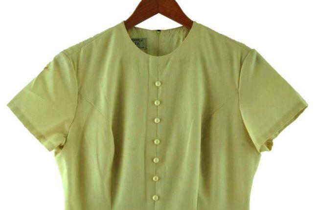 Close up top front - Kammgarn 1960s Cream Shift Dress